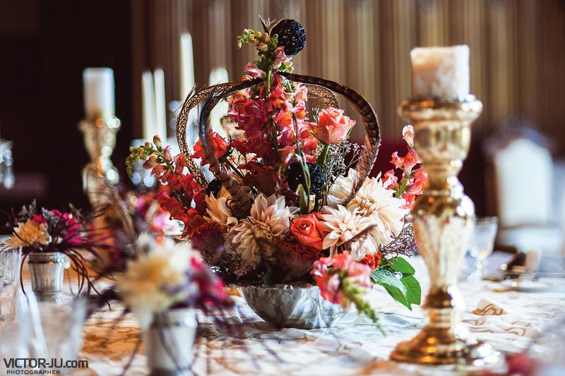 Украшения из цветов на французской свадьбе
