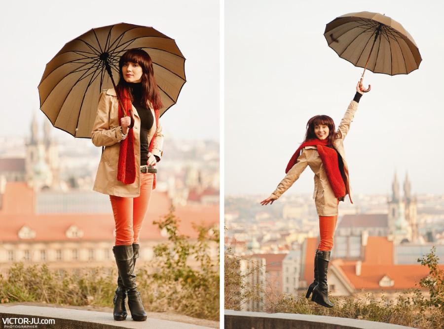 Осенняя фотосессия девушки в Праге
