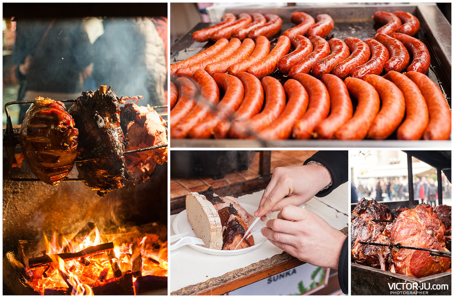 Вацлавские колбаски и мясо на гриле в Праге