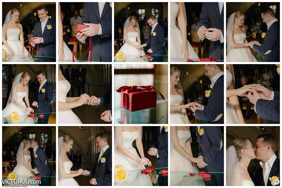 Обмен обручальными кольцами на свадьбе