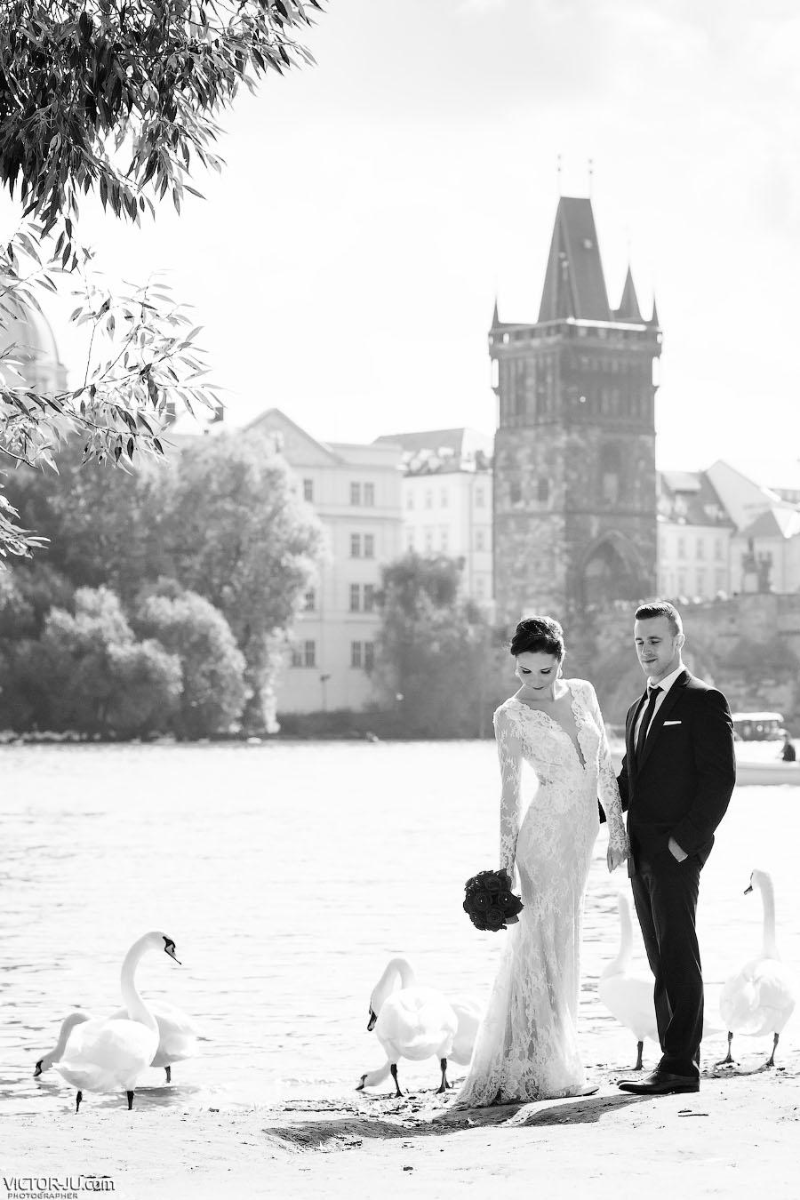 Фото на берегу реки Влтава в Праге