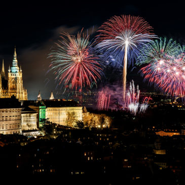 New Year's fireworks in Prague 2018