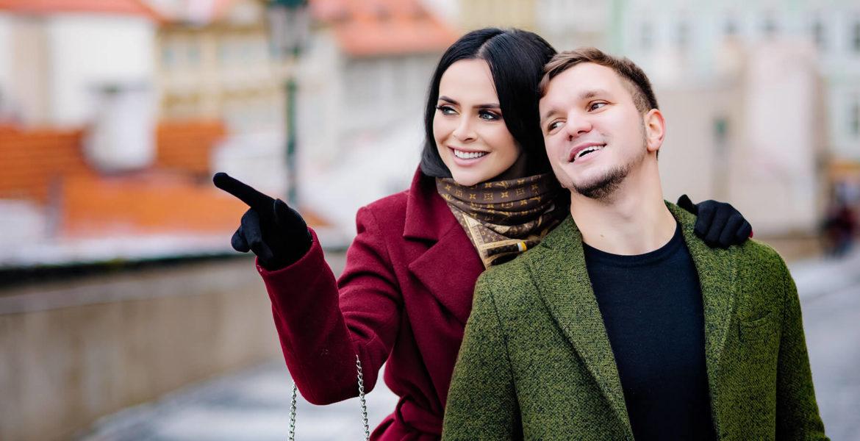 Новогодняя фотосессия в Праге Виктории Романец и Антона Гусева
