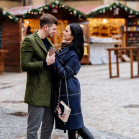 Winter photo shoot in Prague for Victoria Romanets and Anton Gusev