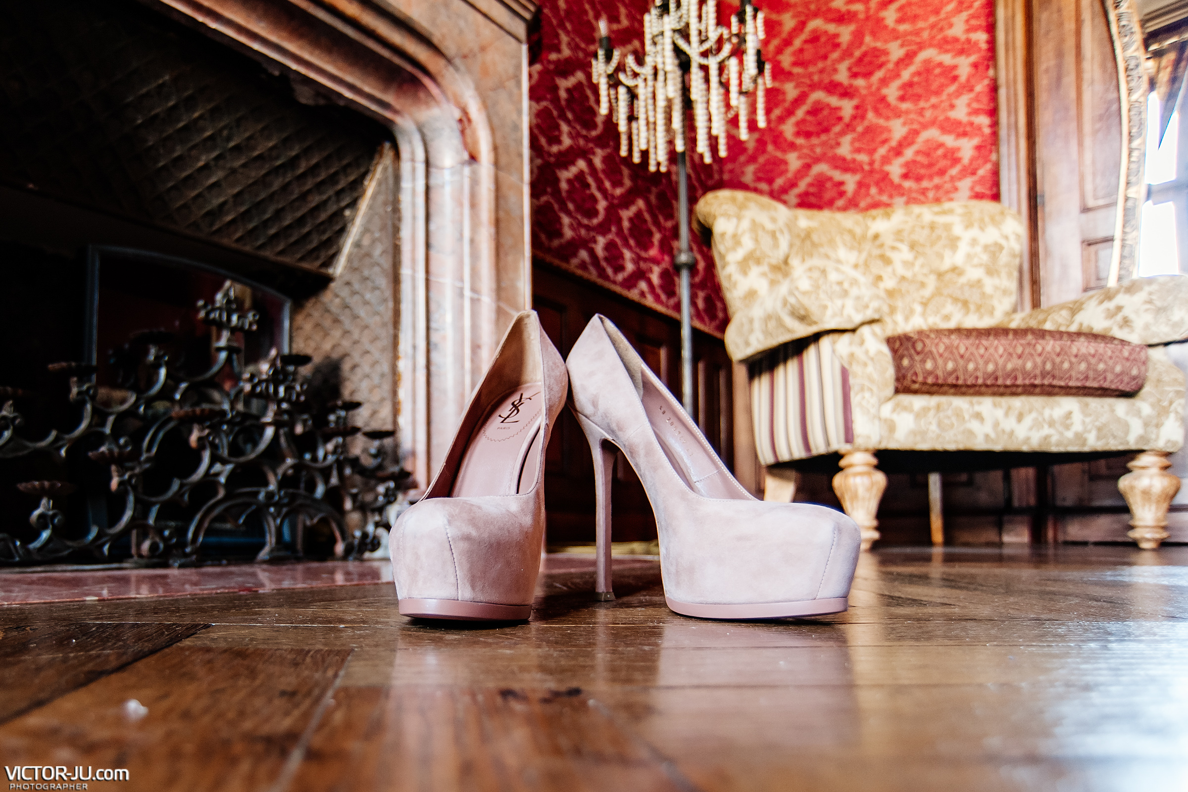 Shoes of the bride at a wedding in France