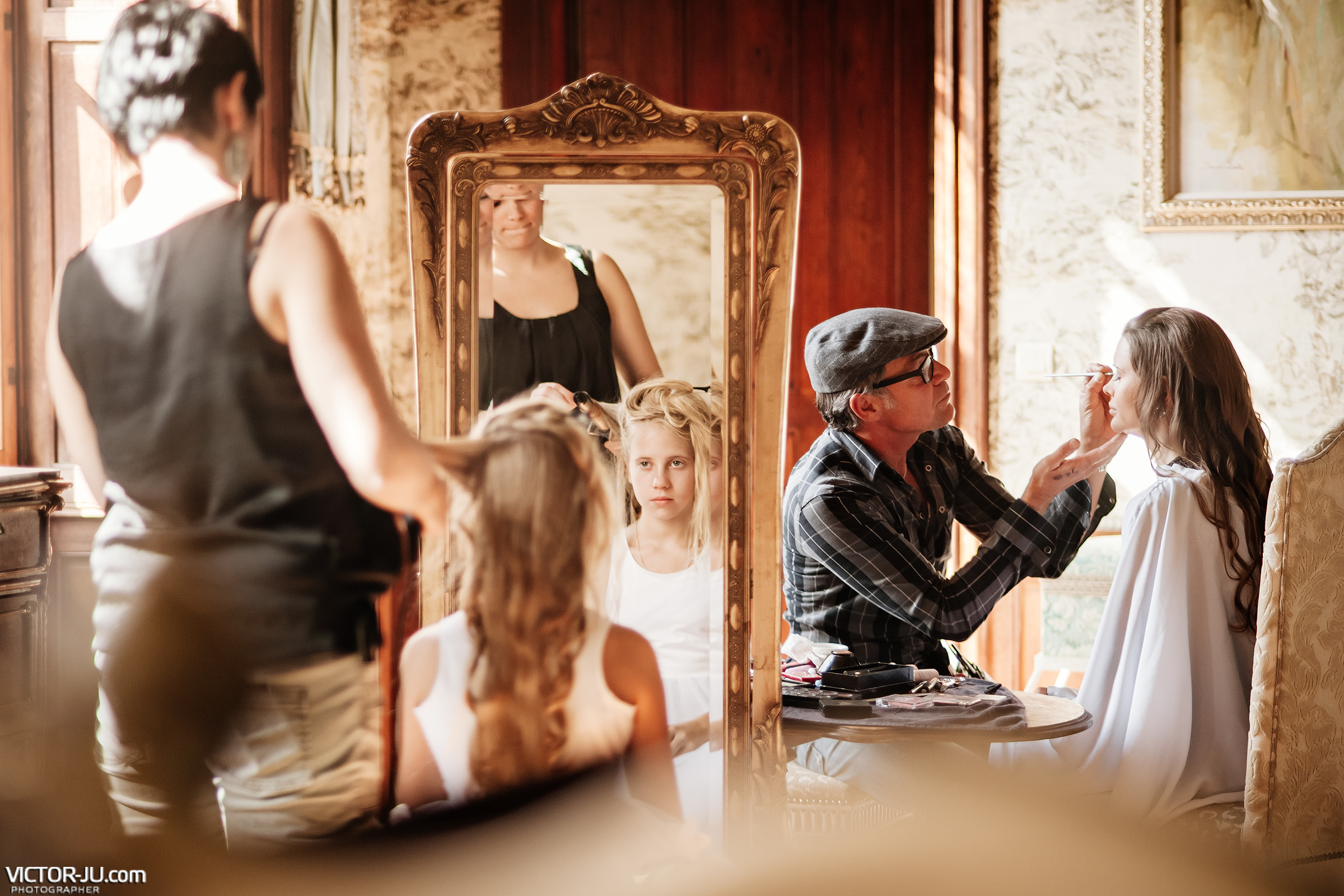 Make-up and bride hair style at a wedding in France